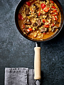 Venison liver and vegetable stew with rice