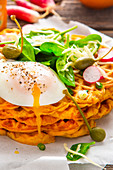 Savoury waffles with cheese, spinach and poached egg