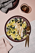 Chicken breast with spinach and gorgonzola pappardelle