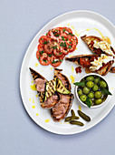 Antipasti plate with crostini