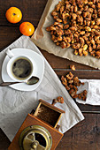 Roasted almonds, mandarins and coffee