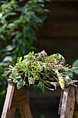 A bunch of summer medicinal herbs – mullein, yarrow, rosemary, meadowsweet, mugwort, bedstraw and St. John's wort
