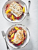 Seeteufel auf Sherry-Reis mit Chorizo, Paprika und Orangenfilets