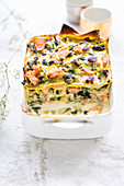Vegetable lasagne with fresh and smoked salmon