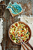 Tagliatelle with chilli, mushrooms, courgettes, olive oil and thyme