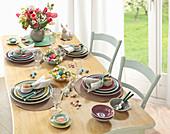 Festively set Easter table