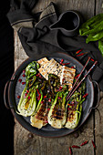 Bok choy salad with fried fish