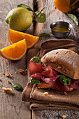 A bresaola roll with spinach
