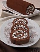 Chocolate Swiss roll with white chocolate cream and dark chocolate