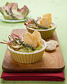 Mini artichoke and cheese bakes with cheese crisps
