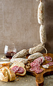 Cacciatora salami with bread and wine