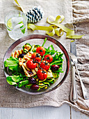 Haloumi and char-grilled zucchini salad