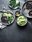 Roast field mushrooms, parmesan and green polenta
