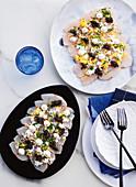 Kingfish sashimi with caviar and creme fraiche