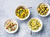 Vier Kartoffelsalate
