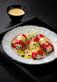 Stuffed pepper rolls with garlic and saffron mayonnaise