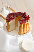 Angel cake with raspberry glaze
