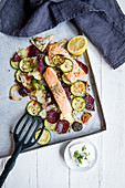 Salmon with oven-roasted vegetables
