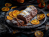 insta Chocolate log with hints of orange orange peel with icing sugar dusting