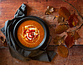 Roast Red Pepper and Carrot Soup with coconut milk Yoghurt and roast red pepper garnish