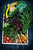 Frisches Gemüse auf Holztablett