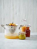 Vegetable broth, mushroom broth and vegetable paste in jars