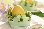 Easter egg and moss in DIY paper Easter nest