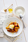 Pain perdu with nectarines, honey and yoghurt