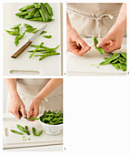 Cleaning sugar snap peas
