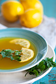 Broth with ginger and turmeric