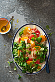 Grapefruit, orange, satsuma and pomelo salad with lambs lettuce