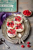 Tahini and yogurt mousse with fresh berries