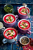 Beetroot cream soup with mint pesto