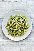 Trofie with creamy basil pesto and green asparagus