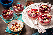 Yogurt and chocolate mousse with cherries