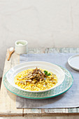 Artichoke risotto with saffron and peppermint