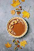 Traditional homemade autumn pumpkin pie