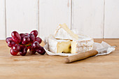 Camembert and red grapes