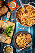 Sauerkarut with sausage and chickpeas (Polish bigos)