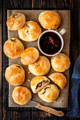 Yeast buns with mushroom and sausage, beetroot soup