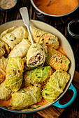 Sabbage rolls with chicken, soy noodles and mushrooms
