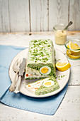 Cream cheese terrine with smoked salmon, spinach and egg