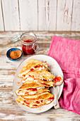 Pancakes with quark and strawberry jam