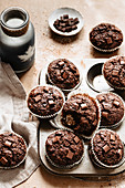 Breakfast set with healthy zucchini chocolate muffins
