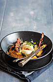 Pumpkin puree with egg and bacon