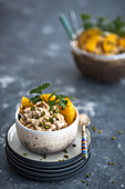 Orange couscous with mint and chopped pistachios