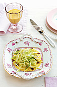 Puntarelle salad with lemon sauce and anchovies