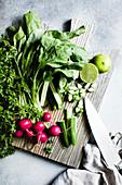 Petersilie, Radieschen, Gurke und Limette als Salatzutaten auf Schneidebrett
