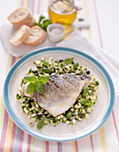 Sea bream fillet on zucchini salad with ginger