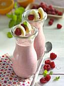 Raspberry and banana shakes